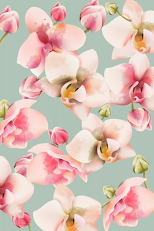Orchid bouquet pattern background. watercolor. spring flowers