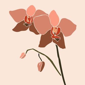 最小限のトレンディなスタイルの蘭の花。ピンクの背景に現代的なシンプルな抽象的なスタイルの蘭の植物のシルエット。 tシャツプリント、カード、ポスターのベクトル図