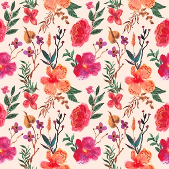 Orchid flower watercolor seamless pattern