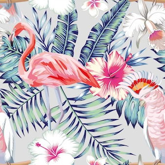 Orchid hibiscus flamingo parrot pattern light