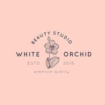 Orchid logo design template in simple minimal linear style. vector floral emblem and icon for beauty salon, spa.