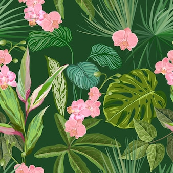 난초, 필로덴드론, 몬스테라 배경, 이국적인 분홍색 꽃과 녹색 정글 잎이 있는 매끄러운 열대 꽃 무늬. 열대 우림 식물 벽지, 자연 섬유 장식. 벡터 일러스트 레이 션