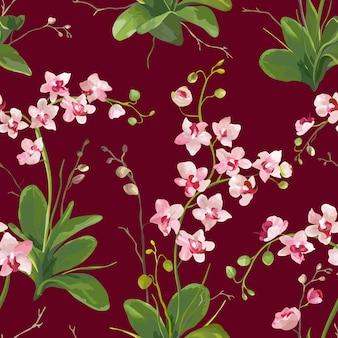 Орхидеи тропические листья и цветы фон. бесшовный узор в