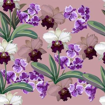 Орхидея белые и фиолетовые цветы бесшовные модели