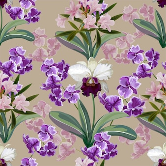 Orchid white and purple flowers seamless pattern