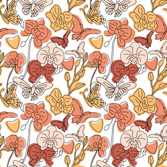 Orchids and butterflies seamless background pattern with hand drawn line abstract shapes different. trend color illustration on white. contour drawing.