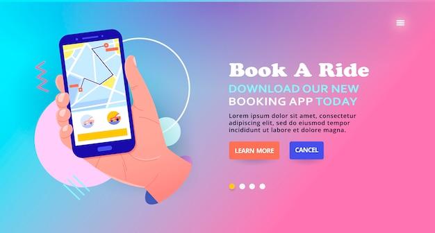 Заказать такси в мобильном приложении онлайн, дизайн баннера. заказать поездку, веб-баннер. он-лайн концепция иллюстрации обслуживания автомобиля, служба заказа мобильного такси, отслеживание автомобиля.