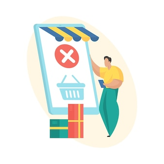Order closed. flat vector illustration. mobile shopping order processing status icon. man standing near huge smartphone with shopping cart on screen. digital shopping. order shipped and closed
