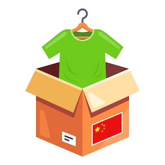 Заказ одежды из китая. доставка посылки с одеждой на дом. плоский резак иллюстрации.