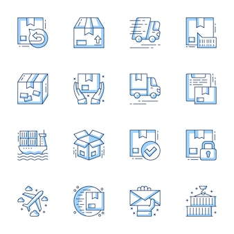 Order delivery and cargo shipment linear vector icons set.