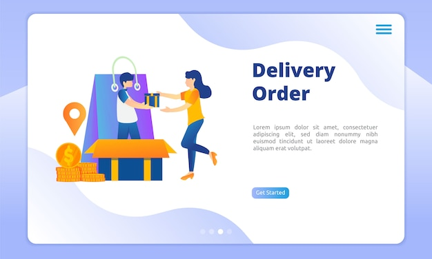 Order delivery landing page