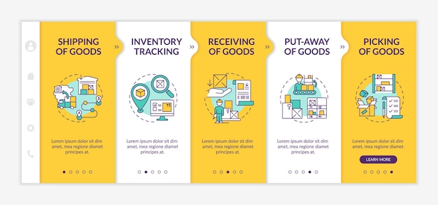 Order delivery onboarding  template. goods receiving. warehouse management. storehouse service. responsive mobile website with icons. webpage walkthrough step screens. rgb color concept