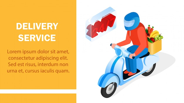Order delivery service isometric banner layout