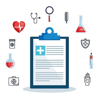Order document with healthcare medical set icons