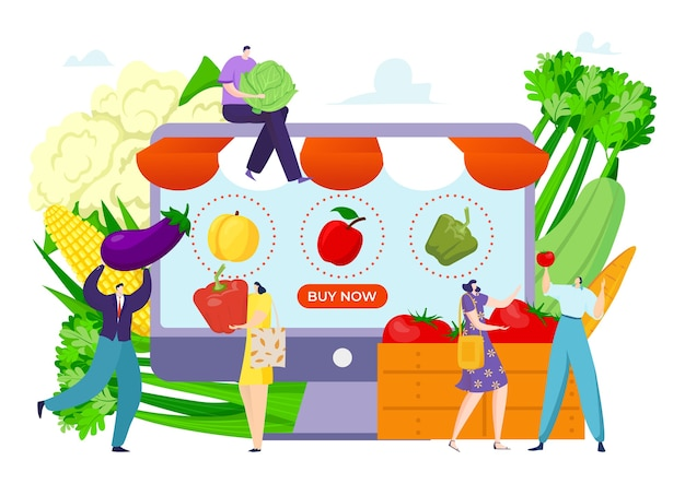 Заказать эко-продукт в вегетарианской продуктовой иллюстрации