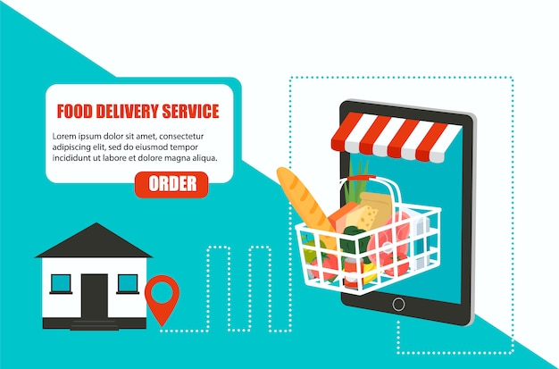 Order food grocery delivery at home and smartphone app