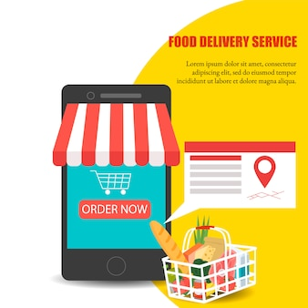 Order food, grocery delivery at home and smartphone app