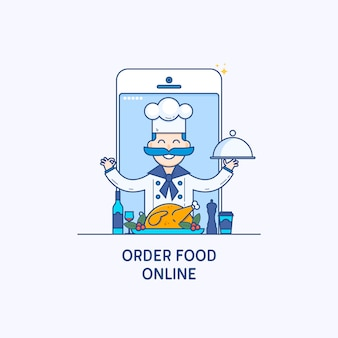 Order food on line banners. Professional chefs, Cooking process. Thin line flat design concept