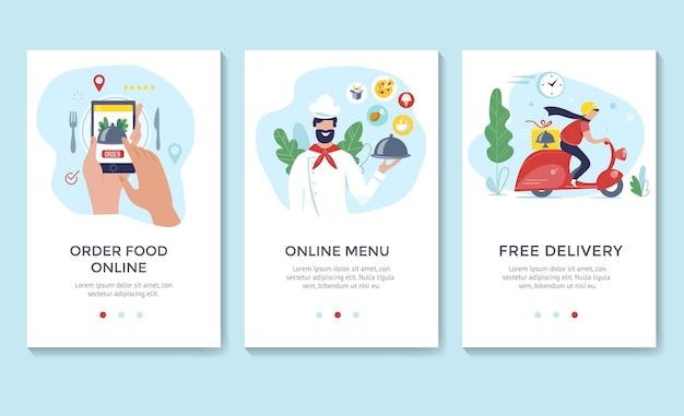 Заказать еду онлайн баннер, шаблоны мобильных приложений, плоский дизайн векторные иллюстрации концепции
