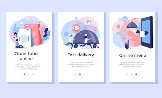 Order food online banners, mobile application design, vector illustration