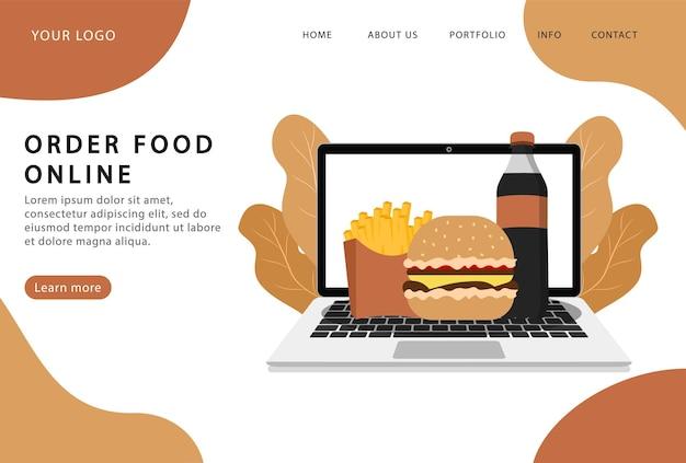オンラインで食べ物を注文します。配達サービス。ランディングページ。 webサイト用の最新のwebページ。