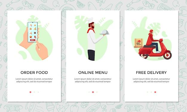 Заказать еду онлайн набор баннеров для мобильного приложения. выбирает блюдо на шаблоне экрана смартфона. шеф-повар приготовил еду и бесплатную экспресс-доставку скутеров из ресторана. иллюстрация доставки продукта