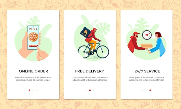 Order food online mobile app banner set. chooses pizza on smartphone screen template. express free bicycle delivery from pizzeria service concept. product bike shipping vector illustration