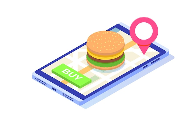Order food online services, fastfood delivery isometric concept.