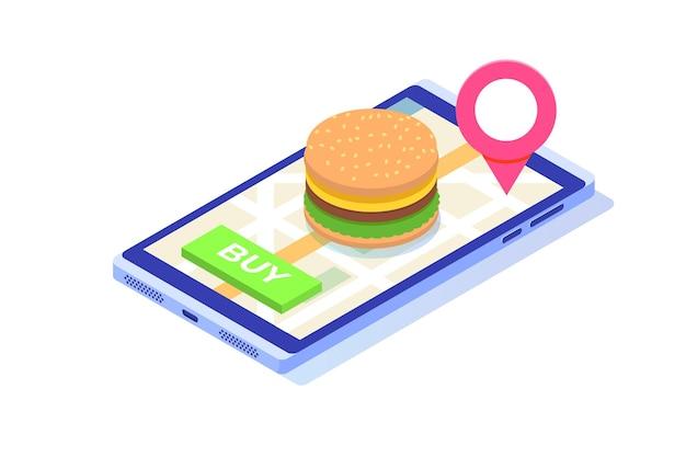 食品オンラインサービス、ファーストフード配達アイソメトリックコンセプトを注文します。