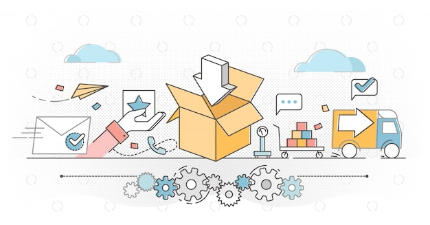 Order fulfillment e-commerce business outline concept illustration
