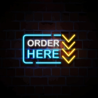 Order here neon style sign illustration