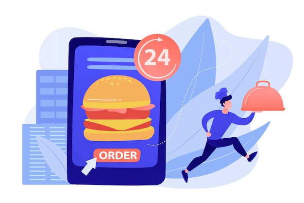 Order huge hamburger on tablet available 24 hours and a cook delivering dish. food delivery service, online food ordering, 24 7 food service concept. pinkish coral bluevector isolated illustration