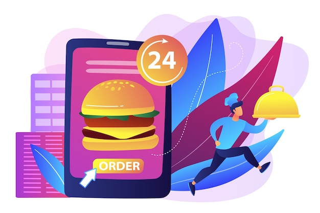 Order huge hamburger on tablet available 24 hours and a cook delivering dish. food delivery service, online food ordering, 24 7 food service concept.