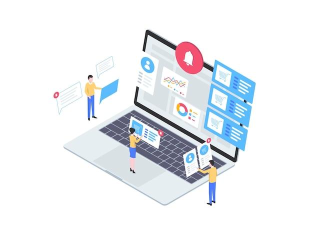 Уведомление о заказе изометрической иллюстрации. подходит для мобильных приложений, веб-сайтов, баннеров, диаграмм, инфографики и других графических ресурсов.