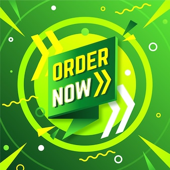 Order now banner in green and yellow tones