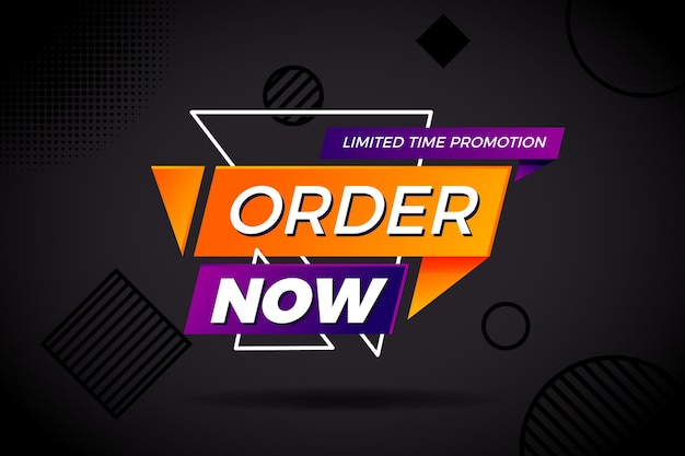 Order now banner for promotions