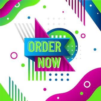 Order now banner with funky background