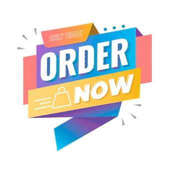 Order now banner with illustrated shopping bag