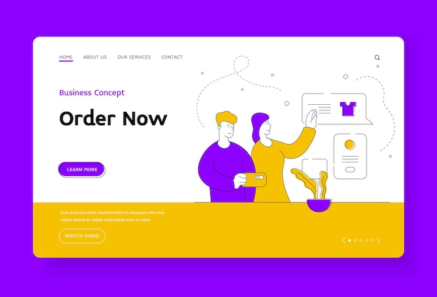 Order now landing page banner template. cartoon people characters using smartphone to read various reviews on clothes while shopping online together. flat style illustration, thin line art design