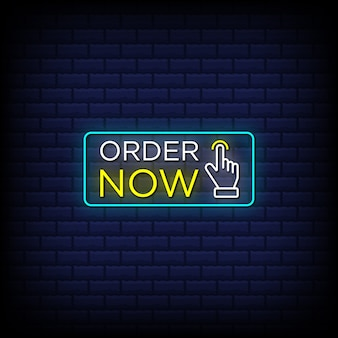 Order now neon sign style text