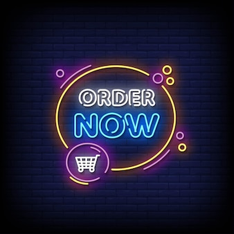 Order now neon signboard on brick wall