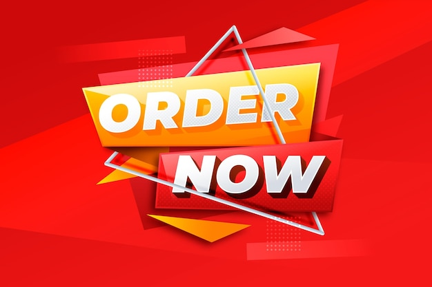 Order now offer banner with abstract shapes