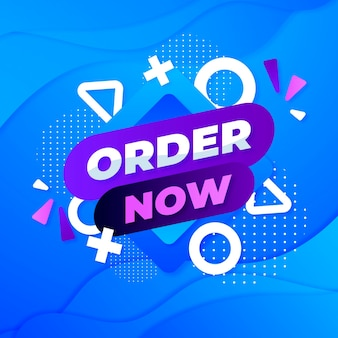Order now promo banner in memphis style