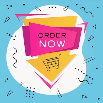 Order now promo banner with illustrated shopping cart