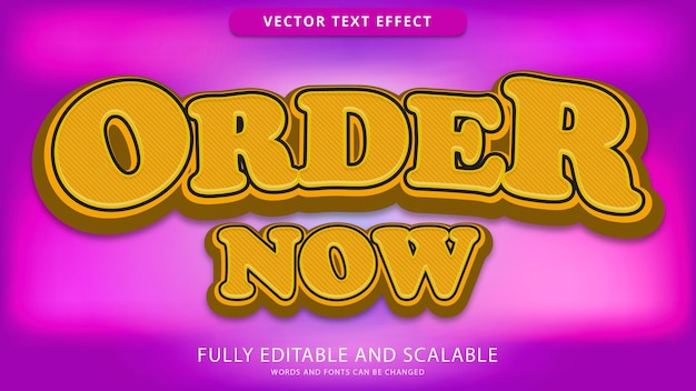 Order now text effect editable eps file
