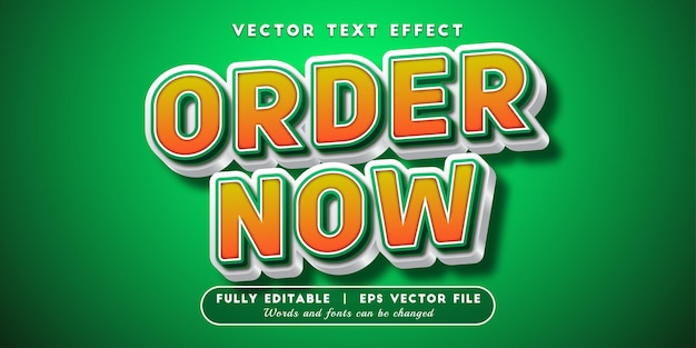 Order now text effect, editable text style