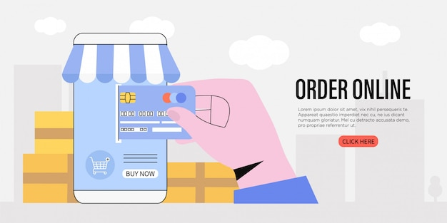 Order online and buy goods application. e-commerce concept.