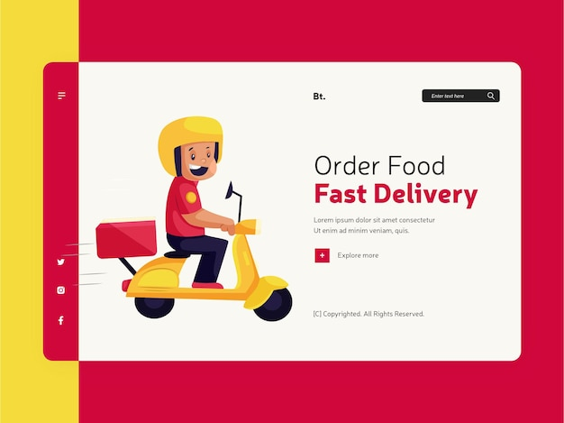 Заказать еду онлайн для дизайна шаблона целевой страницы быстрой доставки