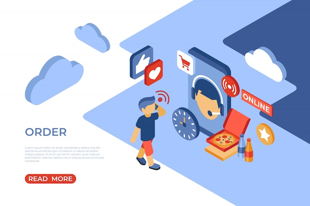 Order online store isometric landing page