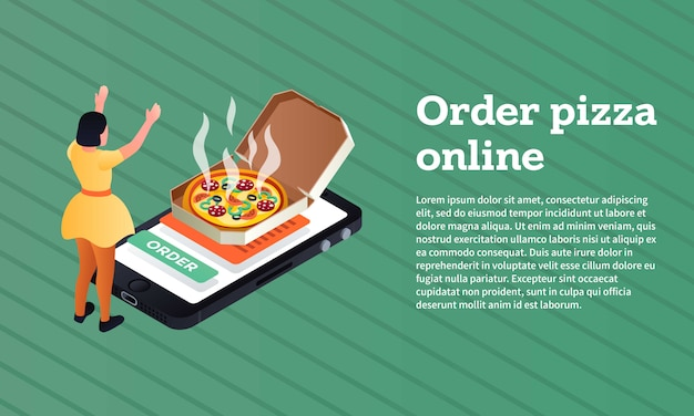 Order pizza online concept banner, isometric style